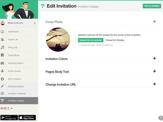 Customize and invitation on Wedivite.
