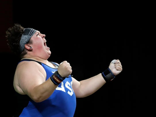 Sarah Elizabeth Robles, of the United States, celebrates