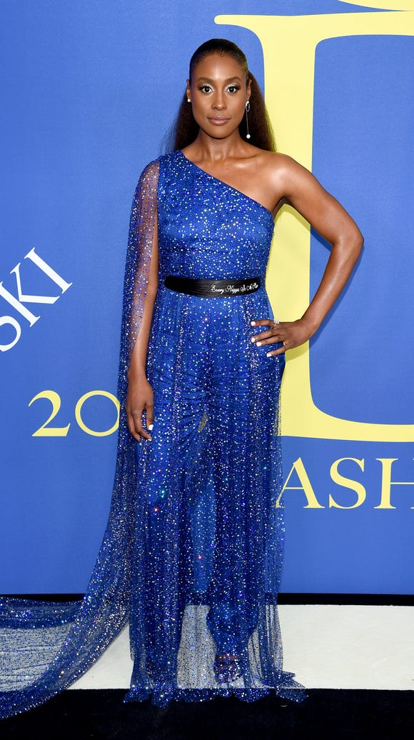 Host Issa Rae sparkled in a blue Pyer Moss look.
