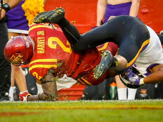 Iowa State linebacker Willie Harvey scores on an interception against UNI during the first half Saturday, Sept. 2, 2017, at Jack Trice Stadium in Ames, Iowa.