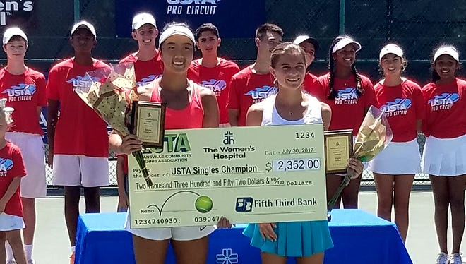 Ann Li (left) poses with her plaque and prize check after winning the 2017 Women's Hospital Classic on Sunday at Wesselman Tennis Center in Evansville. Li defeated Marcela Zacarias (right) 4-6, 6-4, 6-3 in the singles' main draw.