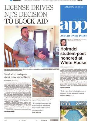 Asbury Park Press front page, Saturday, October 10, 2015