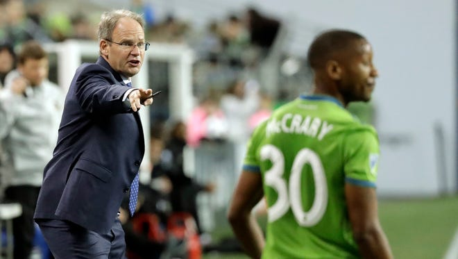 Coach Brian Schmetzer and the Sounders are still looking for their first MLS goal of the season.