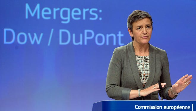 European Commissioner for Competition Margrethe Vestager speaks during a media conference at EU headquarters in Brussels on Monday, March 27, 2017. The European Union has approved the proposed merger of Dow Chemical and Du Pont, saying that the companies' commitments to divest businesses have addressed its concerns.