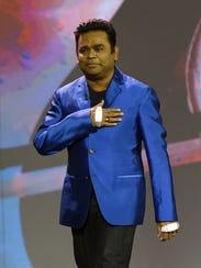 Composer A.R. Rahman wears Intel Curie smartbands on