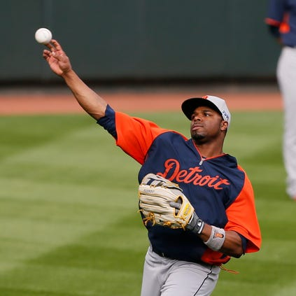 Detroit Tigers outfielder Rajai Davis warms up as he goes through a light workout in Baltimore, Md., on Wednesday, Oct. 1, 2014.