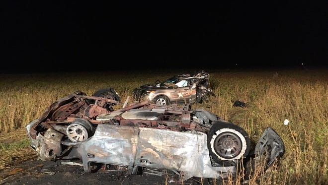 A suspected drunken driver led police on a chase that ended in a fiery crash and explosion that destroyed a patrol car in rural Boone County Saturday.