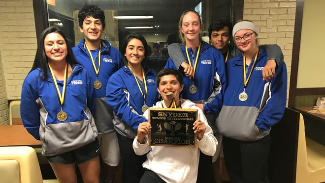 Lake View tennis players from left to right: Alaysia Capuchina, Erick Torres, Kristal Rodriguez, Francisco Mendoza, Emily Hahn, Zebastian Casillas and Shaye Price after winning the Snyder Tennis Tournament Feb. 16, 2018.