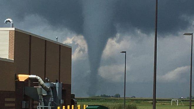 Bondurant-Farrar High School principal Erik Garnass took this photo of a tornado that struck Bondurant on July 19, 2018. He was at the high school at the time the storm blew through.