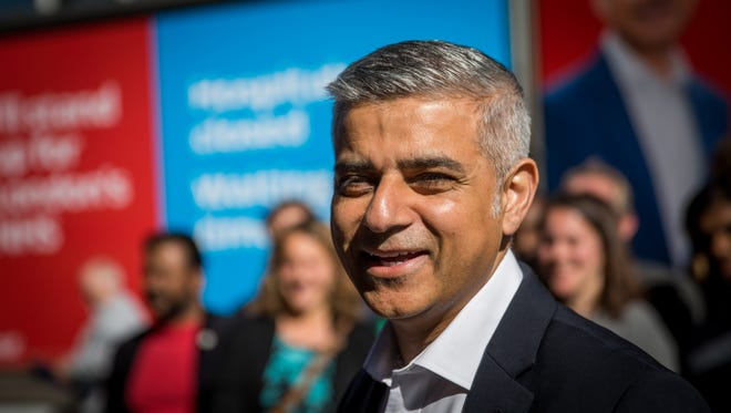 Sadiq Khan speaks to supporters in London on May 4, 2016.