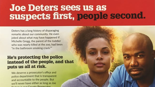 One side of a political attack mailer on Hamilton County Prosecutor Joe Deters.