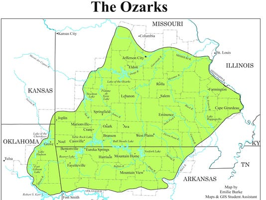 Far West Missouri Map.What Are The Boundaries Of The Ozarks You D Be Surprised