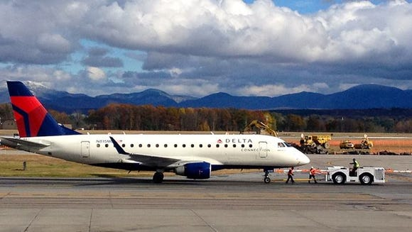 A Delta aircraft taxis at Vermont's Burlington International