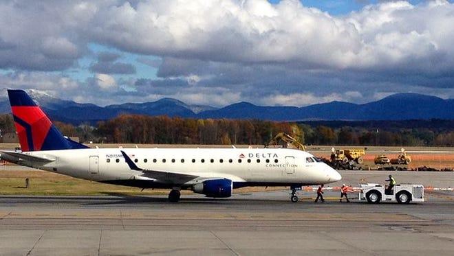 A Delta aircraft taxis at Vermont's Burlington International Airport.