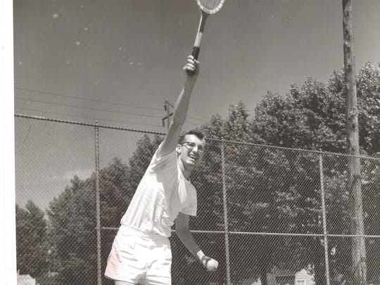 Bob Fredericks shows off his serve in 1949.