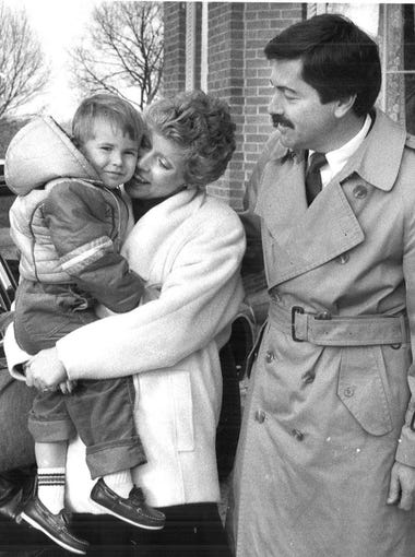 Gov. Terry Branstad drops off Chris and Marcus at Terrace Hill after their return from voting in Lake Mills on Nov. 4, 1986.