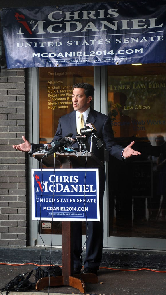 Senatorial candidate Chris McDaniel talks about his election challenge Monday, Aug. 4, 2014 during a news conference at the Tyner Law Firm on I-55 N Frontage Road in Jackson, Miss.