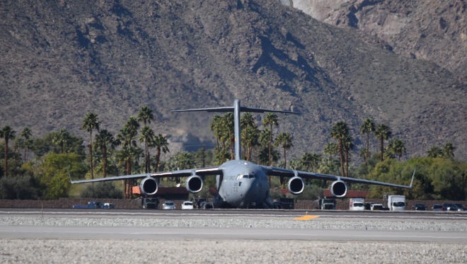 A U.S. Air Force C-17A Globemaster III military transport aircraft arrived at Palm Springs International Airport on Thursday, Feb. 11, 2016 ahead of President Obama's arrival on Friday.