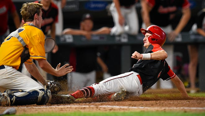 Rocori's Eli Emerson is tagged out by Mahtomedi catcher Charlie Bartholomew during the 2017 State Class 3A baseball championship. This year, Emerson, pitching for Rocori, was 5-1 with a 1.86 ERA and 56 strikeouts in 45 innings pitched. He plans to play for St. Cloud State University.