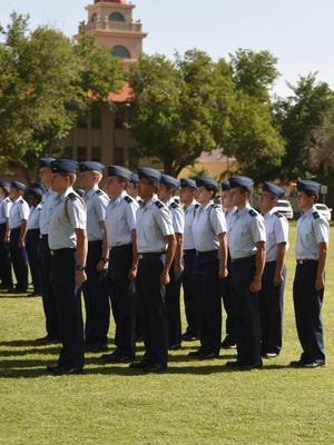 04/28/2016: NMSU Air Force ROTC cadets stand at attention on the Horseshoe during the 114th annual ROTC Pass-in-Review event.