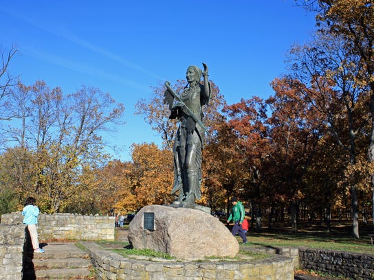 A statue of the Winnebago chief Red Bird stands sentry