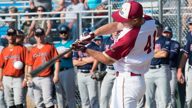 Wisconsin Rapids' Jake Guenther takes a swing during the Northwoods League Home Run Derby Tuesday at Athletic Park. Guenther hit two home runs in the competition.