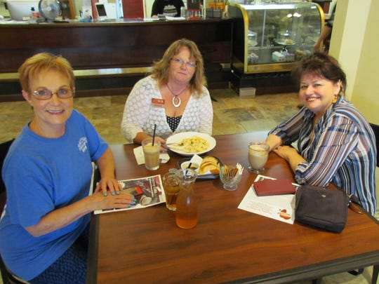 Left to right, Tass Morrison, Helen Ramsdell and Priscilla Glidewell visited Canyon Conversations July 13 at Moxieberry to discuss a variety of topics.