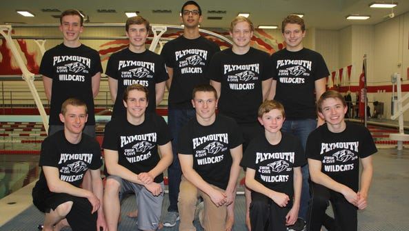 Ten members of Plymouth's varsity boys swimming and