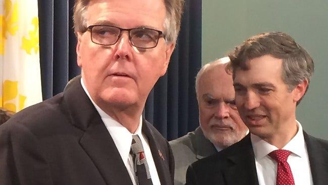 Lt. Gov Dan Patrick (left) faults House Speaker Joe Straus' leadership Sunday, May 28, 2017.