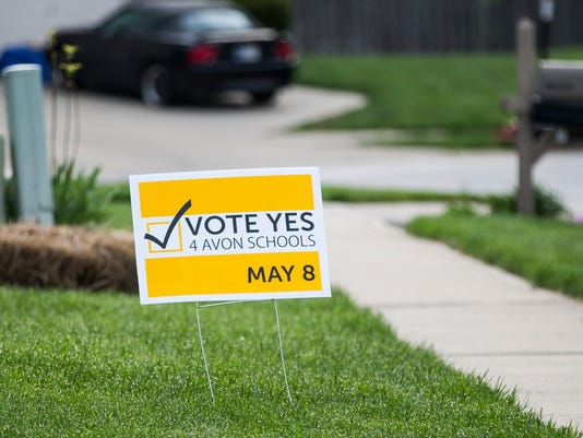 A political sign sits in a yard in Avon, Indiana