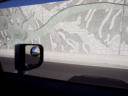 "A section of ""The Path Most Traveled"" artwork along Loop 101 in Scottsdale."