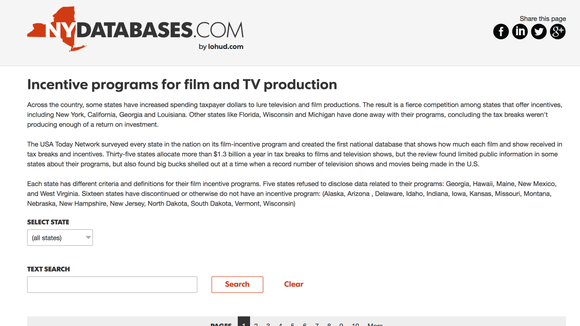 The USA Today Network in New York created the first national database of incentives that went to films and shows across the U.S.
