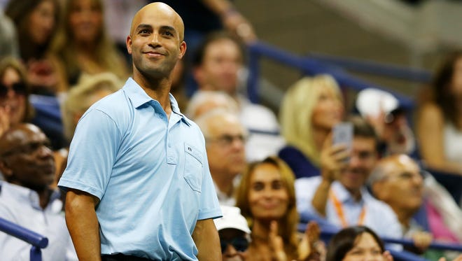 James Blake attends the 2015 US Open days after being mistakenly arrested by an NYPD officer.