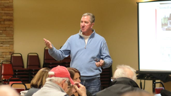 Michael Fite, of F2 Companies, takes questions from the public and Port Clinton City Council during an open house discussing SouthPointe, a major housing development planned for the south end of Jefferson Street.