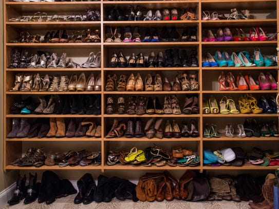 The closet of Sharon Moss is pictured in Lafayette,