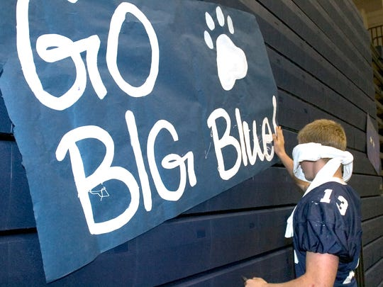 Kyle O'Donnell participates in a pep rally activity in 2005 at Dallastown. Dallastown's school colors of blue and white date back to at least the 1929-30 school year. The name Wildcats date back to at least the 1940s.