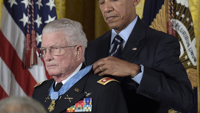 President Barack Obama Monday presents retired Army Lt. Col. Charles Kettles with the military's top honor for his heroism as a helicopter pilot.