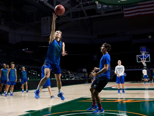 The FGCU women's basketball team practices at the Watsco