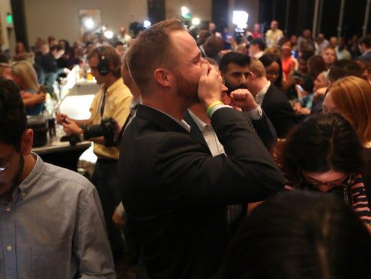 Democratic gubernatorial nominee Andrew Gillum celebrates
