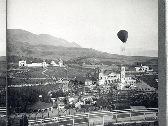 A hot air balloon ascends over Columbia Gardens in Butte, circa 1910. A lush, beautiful garden is not the image that typically comes to mind of Butte around the turn of the century.