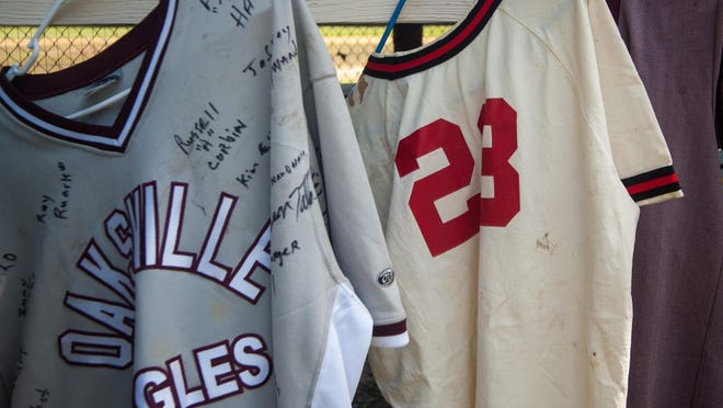 Classic Oaksville Eagles playing jerseys from the era of Negro League Baseball.