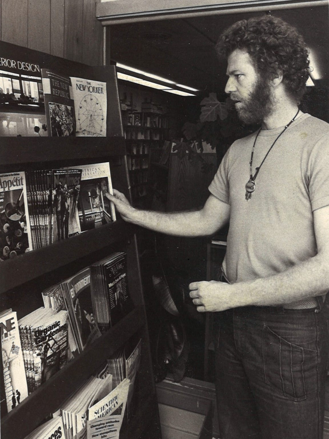 Jim Harris is shown inside Prairie Lights bookstore