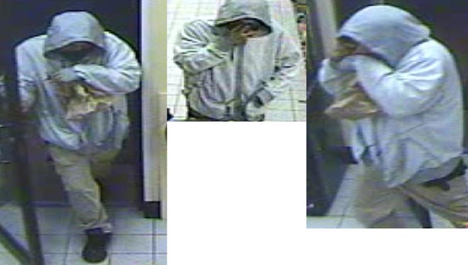 Surveillance screenshots of the robbery suspect.