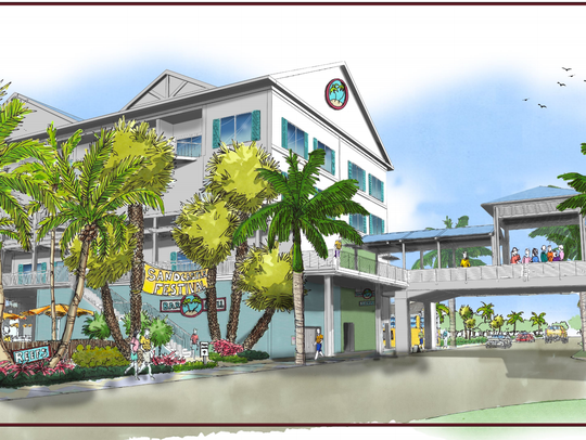 A conceptual view of TPI Hospitality's proposed resort, from the point of view of someone standing at the intersection of Estero Boulevard and Crescent Street.