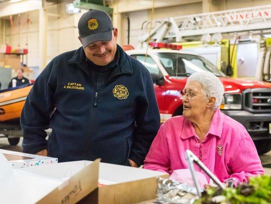 Captain Anthony Baldosaro meets with Betty Fowler during