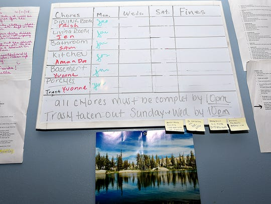 A chart of chores is shown for residents at their recovery