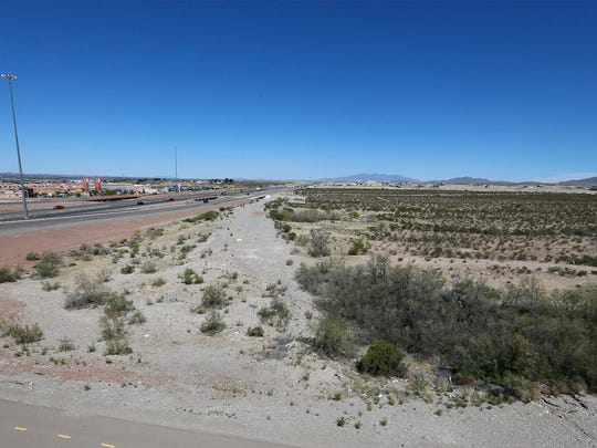 This is part of the 112 acres, at Transmountain and Interstate 10, where an El Paso developer wants to put his proposed Franklin Galleria shopping centert. It is to include a $28 million-plus Cinergy Entertainment dine-in cinema complex with bowling lanes, arcade, laser tag, and other features.
