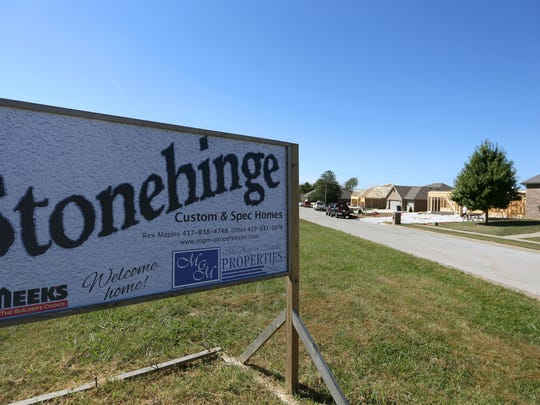 New homes are being constructed in the Stonehinge subdivision on Farm Road 129. The subdivision is just north of a planned Menards store.