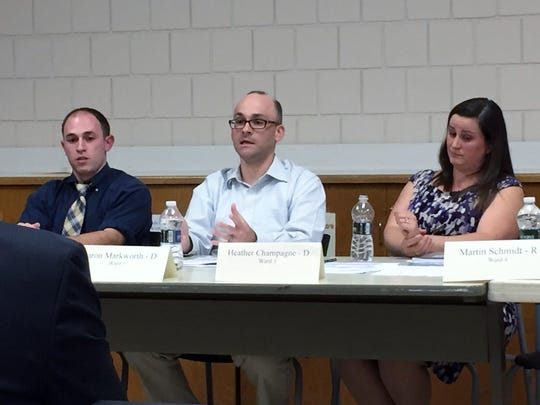 From left,  Democrats Dan Kline, Aaron Markworth  and Heather Champagne appear at a candidates forum in Roxbury.