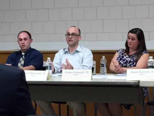 From left,  Democrats Dan Kline, Aaron Markworth  and